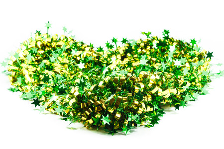 ribbin: green ribbin and golden star decoration on white background Stock Photo