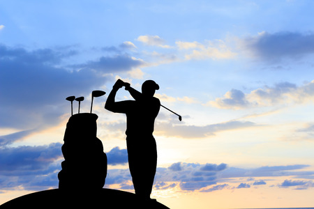 silhouette golfer  beautiful sky backlit sunset background