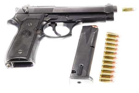 Guns and ammunition,ammo,bullets on white background