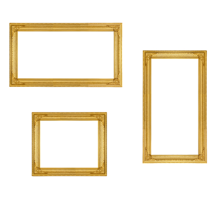 golden vintage picture frame isolate on white background Stock Photo