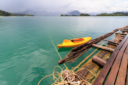 Khao Sok National Park, Mountain and Lake in Southern Thailand,Kayak boat. Imagens
