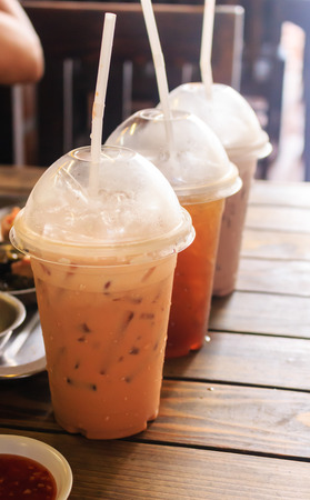 iced coffee and iced tea in the cafe.