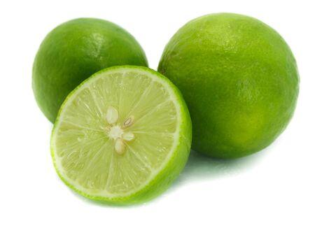 Fresh lime , Isolated on white background.