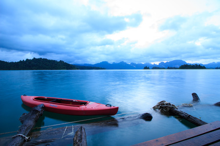Khao Sok National Park, Mountain and Lake in Southern Thailand, boat.long speed shutter.
