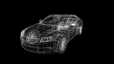 車モデル ボディ構造、ワイヤー モデル