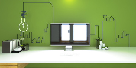 luxury living room: the interior style minimalist working small area with lamp (3D Rendering)