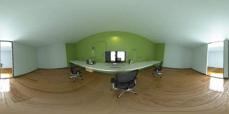 3d illustration spherical 360 degrees, panorama of the room and interior design. Modern studio office (3D rendering)
