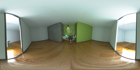 equirectangular: 3d illustration spherical 360 degrees, a panorama of the room and interior design. Modern studio office (3D rendering)