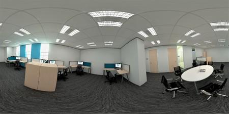 3d イラストレーション球状 360 vr 度、オフィス会議室とインテリアデザインのシームレスなパノラマ (3D レンダリング)