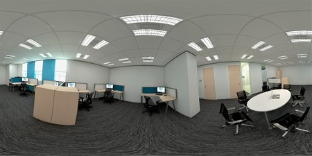 3d illustration spherical 360 vr degrees, a seamless panorama of the office meeting room and interior design (3D rendering)