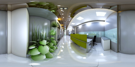 3d illustration spherical 360 vr degrees, a seamless panorama of the room and office interior design (3D rendering) Stok Fotoğraf