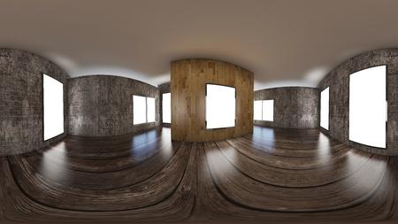 3d イラストレーション球状 360 vr 度、部屋とオフィスのインテリアデザインのシームレスなパノラマ (3D レンダリング)