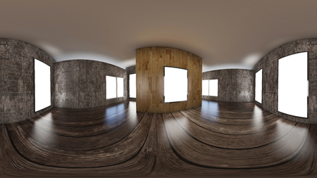 3d illustration spherical 360 vr degrees, a seamless panorama of the room and office interior design (3D rendering) Foto de archivo