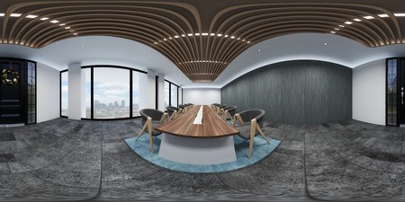 3d illustration spherical 360 vr degrees, a seamless panorama of the room and office interior design (3D rendering) 版權商用圖片