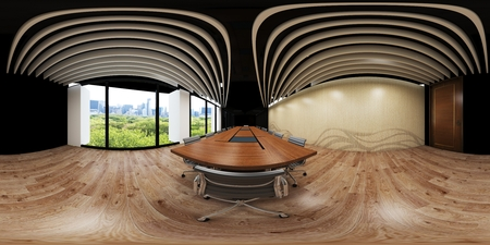 3d illustration spherical 360 vr degrees, a seamless panorama of the room and office interior design (3D rendering) Reklamní fotografie