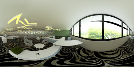 3d illustration spherical 360 vr degrees, a seamless panorama of the room and office interior design (3D rendering) Stock Photo