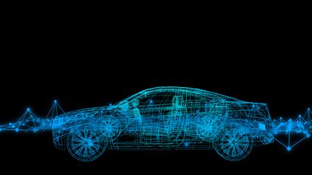 자동차 모델 몸 구조, 와이어 모델과 반사 3d 렌더링