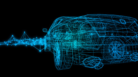 car model body structure, wire model with Reflect 3d rendering Archivio Fotografico