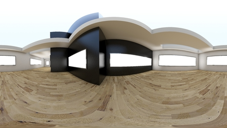 3D illustration spherical 360 vr degrees, a seamless panorama of the room and office interior design Foto de archivo