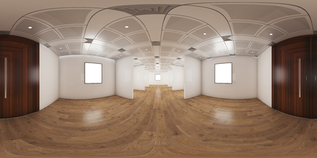 3d illustration spherical 360 vr degrees, panorama of the room and office interior design (3D rendering)