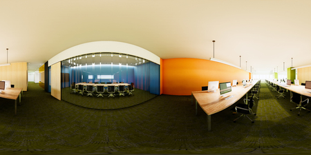 3d illustration spherical 360 degrees, panorama of the room and office interior design (3D rendering)