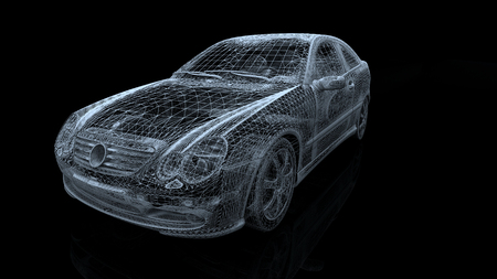 car model body structure, wire model with Reflect 3d rendering 免版税图像