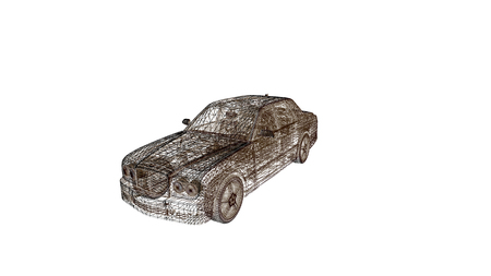 car  model body structure, wire model / 3d rendering