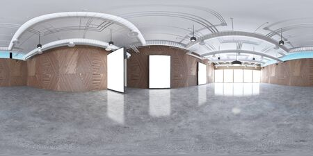 3d gallery room illustration spherical 360 vr degrees, a seamless panorama of the room and interior design for business room (3D rendering) Foto de archivo
