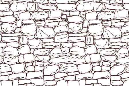 hand-drawn texture of brick wall or sett. castle stone Seamless pattern of paver. Urban style structured ornament in line art style. Pattern design for travel outdoors. Vector Illustratie