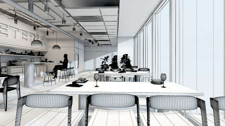 white model office working area 3d rendering