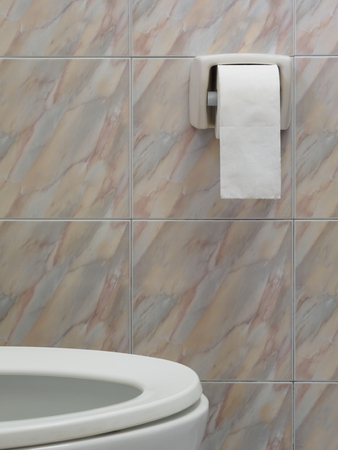 water closet: Marbled water closet and toilet paper roll, Copy space Stock Photo