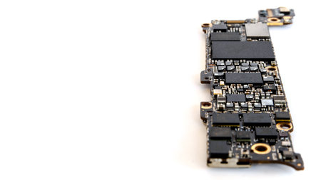 Smartphone circuit board isolate on white background, Selective focus