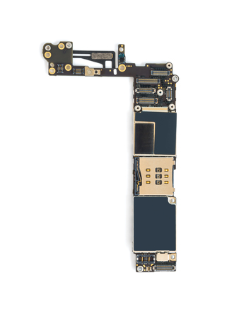analyzed: Top view of smart phone circuit board isolate on white background