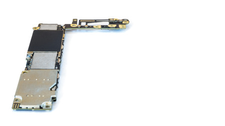 main board: Smart phone circuit board isolate left side on white background, Selective Focus, Copy Space