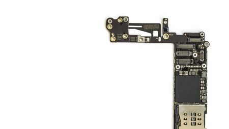 analyzed: Smart phone circuit board isolate on white background with clipping path, Copy Space