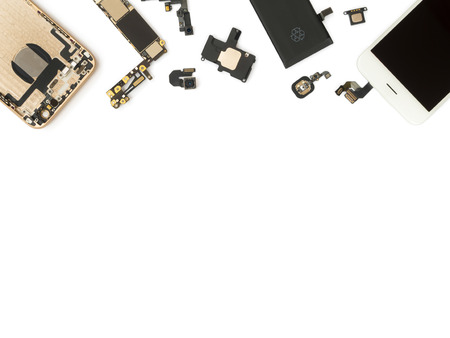 broken telephone: Flat Lay (Top view) of smart phone components isolate on white background with copy space Stock Photo