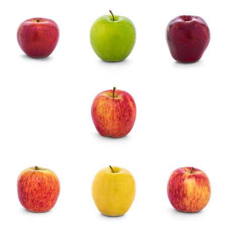Varieties of apples collection (New Zealand Eve, Granny Smith, Red Del, Ambrosia, Divine, Lemonade, Fuji, Gala) isolate on white background