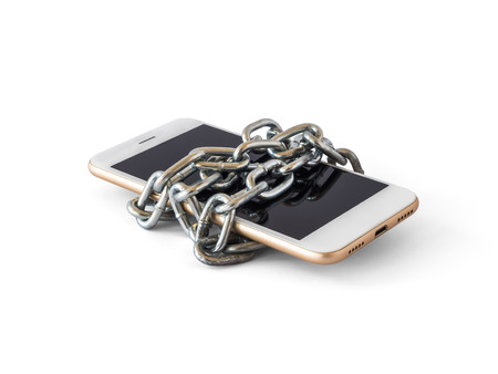 Modern mobile phone with chain locked isolate on white background   Concept of social network issues, forgot password, information security, robbery or piracy