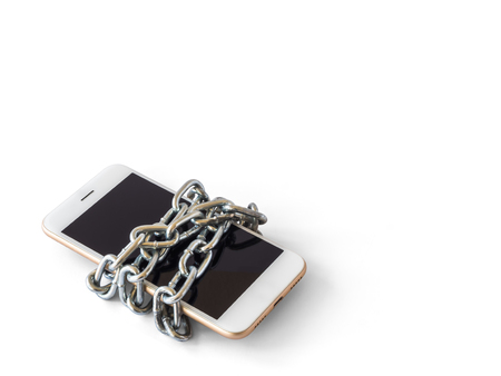 forgot: Modern mobile phone with chain locked isolate on white background with clipping path and copy space. Concept of social network issues, forgot password, information security, robbery or piracy