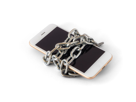 Modern mobile phone with chain locked isolate on white background with clipping path. Concept of social network issues, forgot password, information security, robbery or piracy Stock Photo