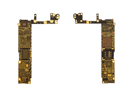 analyzed: Top View of Blank Smart Phone Circuit Board (Mother Board) without Microchip and IC Isolate on White Background with Clipping Path
