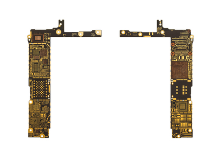 analyzed: Top View of Blank Smart Phone Circuit Board (Mother Board) without Microchip and IC Isolate on White Background Stock Photo