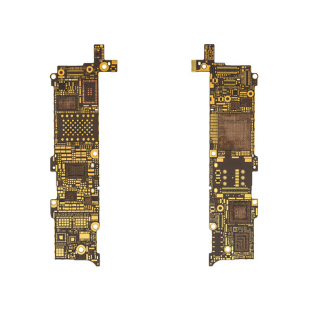 Ic: Top View of Blank Smart Phone Circuit Board (Mother Board) without Microchip and IC Isolate on White Background with Clipping Path