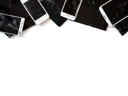 Top view image of the group of broken smartphone screen (e-waste) isolate on white background with copy space, Clipping path