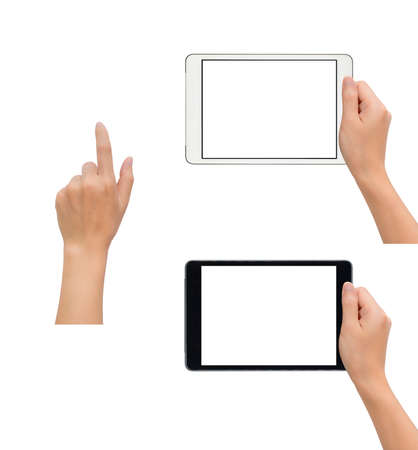 receiver: Close-up image of two human hand holding black and white blank screen tablet with hand in touching gesture isolate on white background with clipping path