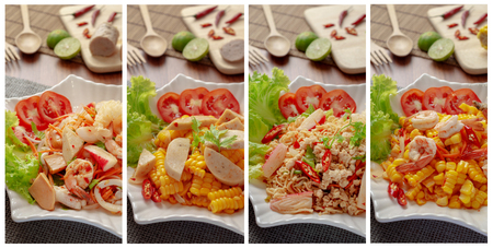 Collage photos of multiple Thai food yum salad hot and spicy food for use as menu or background