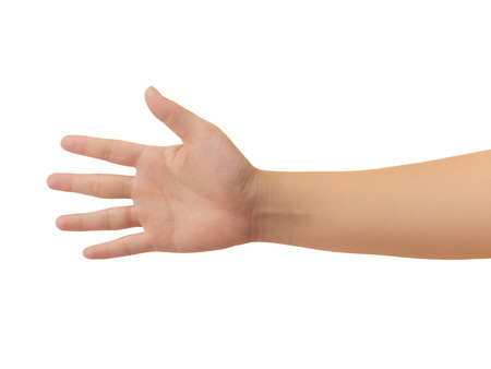 Human hand in reach out one's hand and showing 5 fingers gesture isolate on white background with clipping path, Low contrast for retouch or graphic design Stock Photo