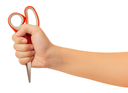 Human hand holding scissors gesture isolate on white background with clipping path, High resolution and low contrast for retouch or graphic design