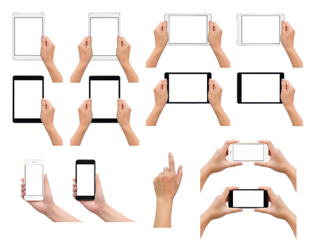 Set of one and two human hand in holding, using or taking photo gesture with smartphone and tablet in black and white colors isolate on white background,  Low contrast for retouch or graphic design Banco de Imagens