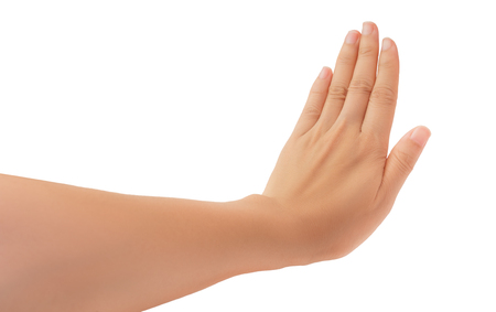 Human hand in reach out ones hand and showing 5 fingers gesture isolate on white background with clipping path, High resolution and low contrast for retouch or graphic design